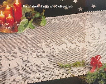 "Crochet ""Night Before Christmas"" Table Runner Pattern #KC0998, Intermediate Skill Level, Crochet PDF Pattern"