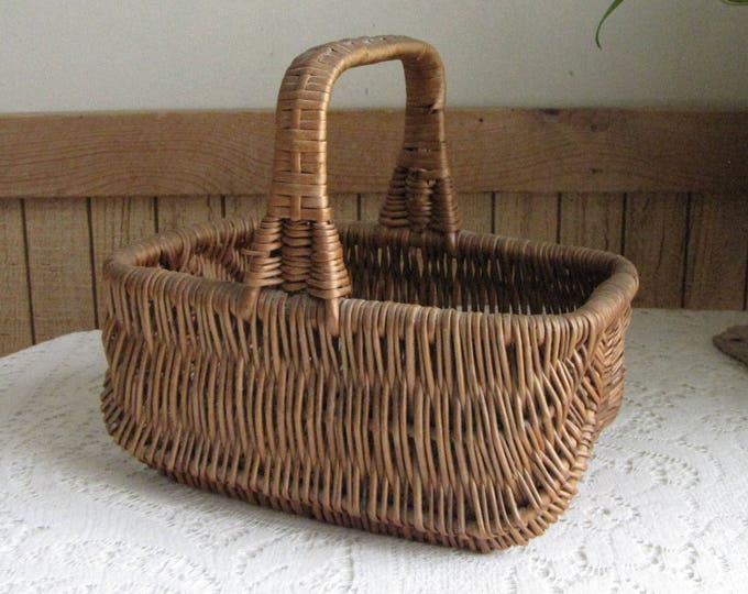 Square Handled Basket Small Gathering Trug Vintage Farmhouse Rustic Home Décor