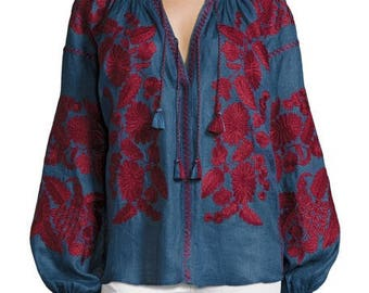 Vyshyvanka oversize blouse with embroidery Loose fit Mexican blouse Urban chic Casual style ljm