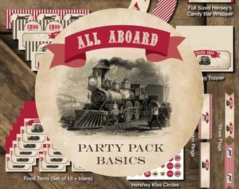 Train Printable Party, Train Birthday Party Printables, Train Birthday Decorations, Vintage Train Printables, Train Party Package