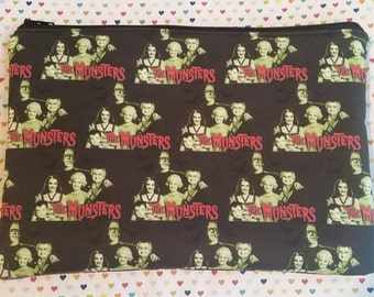 Munsters inspired large padded zipper pouch