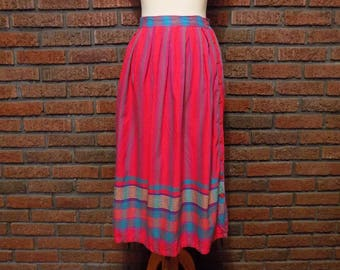 Vintage 90s PINKY Cotton A-Line Button Down Skirt Women's S