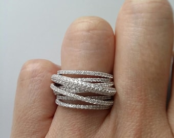 Solid silver ring set with zirkonias - ring interlaced field oxide of zirconium - Sterling Silver 925 - silver 925