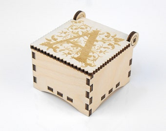 Wooden box, Small Secret Wood Box, (Engraved Letters -A), Gift Box With Lid, Jewelry box, Memory box MG000359