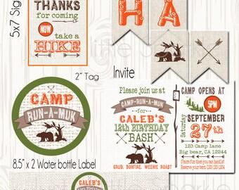 Camping Birthday printables, DIY, Printable camp birthday invite, Camping invitation, Camping party set