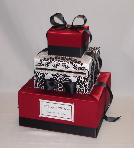 Black And White Damask Favor Boxes : Red black and white damask wedding card box any colors