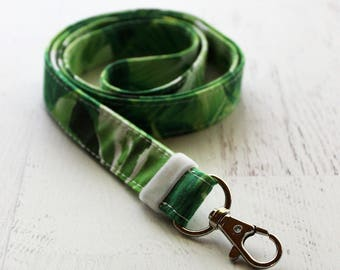 LONG lanyard - cute lanyard - ID badge holder - leaf lanyard - monstera lanyard - teachers lanyard - school ID lanyard - key fob lanyard