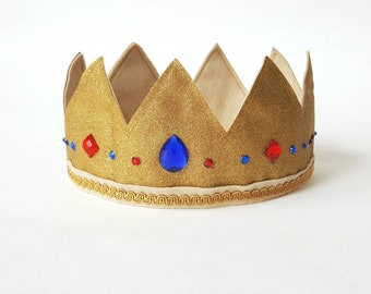King Arthur's Costume Gold Crown with rhinestone jewels for little kings | Princess Crown | Queen | Birthday crown | Royal crown jewels