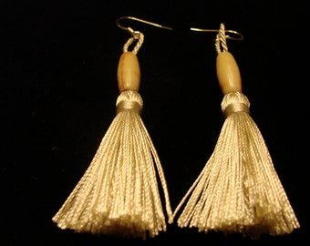 Ivory Silk Tassel Dangle Earrings With Ivory Bead