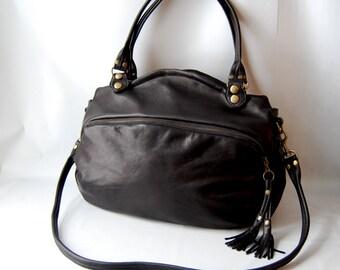 SALE- SP12 leather bag in black - antique brass hardware
