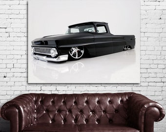 01 Black Lowrider Truck Car Print
