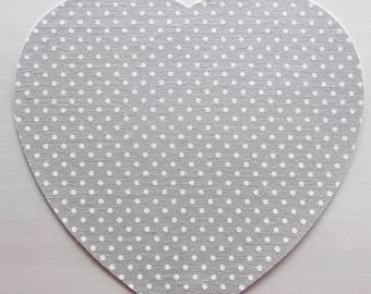 STICKER textile fabric - grey color with white polka dots heart shape