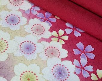 Deep red silk furisode kimono fabric panel -  sakura cherry blossoms
