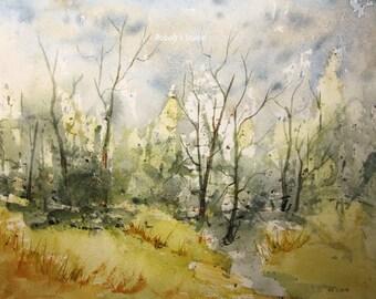 Watercolor Landscape Painting archival print, watercolor art, landscape painting, forest painting, woodland landscape, tree art, forest art.