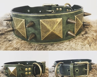 "2"" Leather Spiked Dog Collar with Custom Color options"