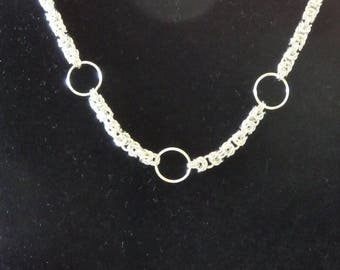 Handcrafted Sterling Silver Byzantine Necklace with ring accents