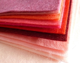 PINKS Wool Blend Felt Pack 10 squares