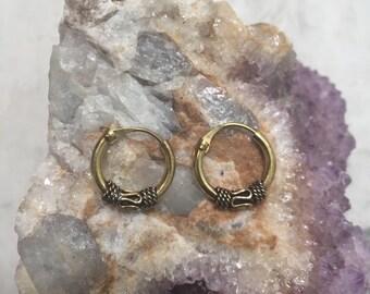 Brass small hoop earrings