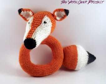 Hand-Knit Baby Rattle - Knitted Fox Rattle for Baby - Knit Rattle for Baby - Fox or Wolf Rattle