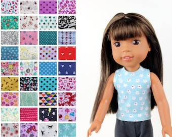 Fits like Wellie Wishers Doll Clothes - The Basic Tank Top, You Choose Print   14.5 Inch Doll Clothes