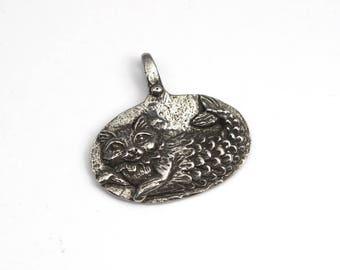 Catfish pendant, Green Girl Studios, Imagine, cat mermaid, kitty, lead free pewter charm 23mm