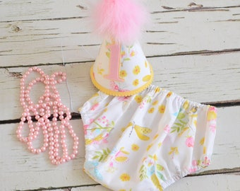 Pink and yellow floral Girl Cake smash outfit - Baby girl birthday set