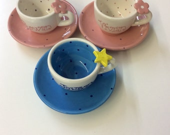 Personalized 4oz Tea Cup & Saucer for boys and girls
