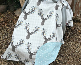 Car Seat Cover - Baby Car Seat Cover - Antler Baby Cover - Boy Car Seat Canopy - Deer Car Canopy - Split Front Canopy - Baby Shower Gift