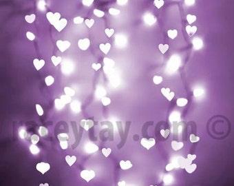 Valentines Day Decor, Ultra Violet, Purple Hearts Print, Pastel, Girl Nursery Decor, Large Wall Art