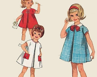 ON SALE Vintage 1960s Jiffy Simplicity Child Baby Girl Dress A Line Front Invert Pleat 4872 Sewing Pattern Size 4