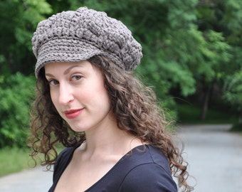 Taupe Cotton Crochet Hat - Crocheted Newsboy Hat - Summer Accessories