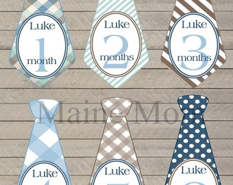 FREE GIFT, PERSONALIZED Monthly Baby Boy Tie Stickers, Baby Boy Month Stickers,  Milestone Stickers, Bodysuit Stickers, uncut