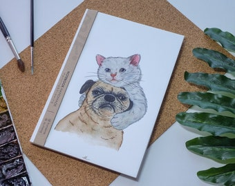 Chat & chien aquarelle carnet de notes à la main, couverture rigide journal, Illustration, carnet, carnet de croquis, journal intime, cadeau, 21 × 14.8
