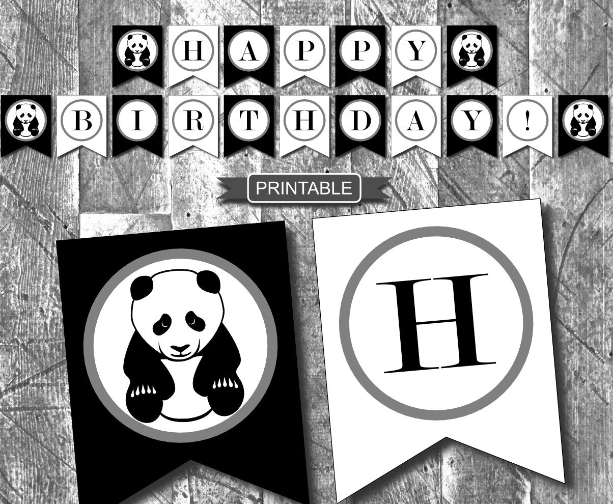DIY Black White Panda Birthday Party Decorations Banner