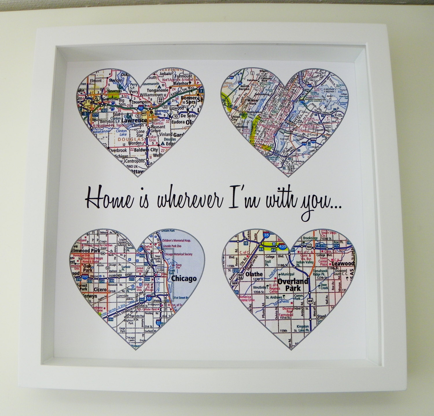 Unique Wedding Gifts Canada: Heart Map Art Personalized Engagement Gift Unique Wedding Gift