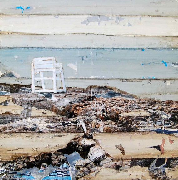 ART PRINT, Lifeguard Chair,Rocky Coast, Maine, Fine Art Print , beach decor, beach print, art, pint, mixed media, collage,All Sizes