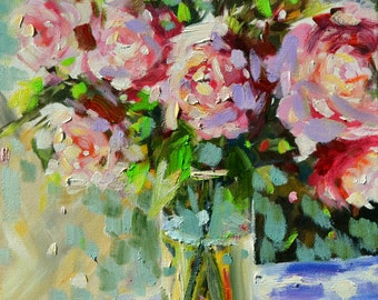 SHABBY CHIC Roses. Art print of a Floral Still life painting. Pastel Roses. Impressionistic art. wall art, Perfect Mother's Day present