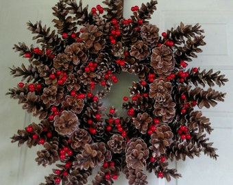 Pinecone and berry wreath