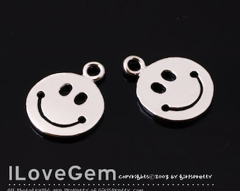 NP-1750 Rhodium Plated, Smile, Pendant, 2pcs