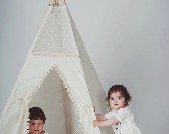 Kids teepee, tipi with poles: 5 pole kids children indoor outdoor playtent, play tent, tipi, teepee, tepee, wigwam, indian tent