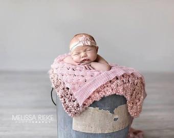 Pink Homespun Newborn Baby Blanket Throw