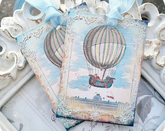 Blue Hot Air Balloon Tags (6) Up Up Away Birthday-Up Up Away Baby Shower-Shabby Gift Tags-Shabby Balloon Tags-Balloon Birthday Tag-Favor Tag