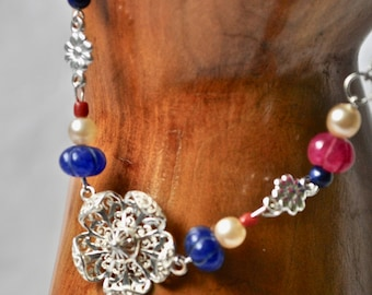 Ruby and Sapphire Tudor Rose Necklace