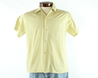 60s Button Down Shirt Short Sleeves Oxford Chartreuse Cotton Atomic Print Vintage 1960s Men's Medium M Rockabilly Hipster Mr. Andres