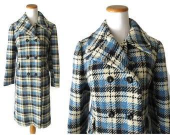 SALE 60s Plaid Coat 1960s Tweed Peacoat Mod Style Pea Coat Blue White Black Plaid Long Size Medium Large M L