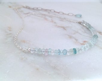 Aquamarine necklace pastel choker sterling silver handmade natural pink green aqua genuine natural simple layering birthstone March