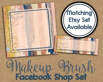 Watercolor Facebook Timeline Cover - Facebook Shop Set - Metallic Watercolor Profile Image - Facebook Shop Banner - Watercolor Shop Set