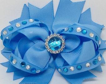 "Blue - Medium: 4.5"" Hair Bow Clip"