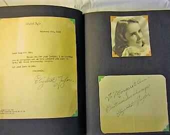 Vintage Hollywood Movie Star Autograph Book, rare 14 year old Elizabeth Taylor, Gregory Peck, Bob Hope, Henry Fonda, Bette Davis +++!