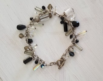 Antique Handmade Black & White Czech Glass Swarovksi Crystal Dangling Charm Briolette Sparkling Everyday Sterling Silver 925 Bracelet